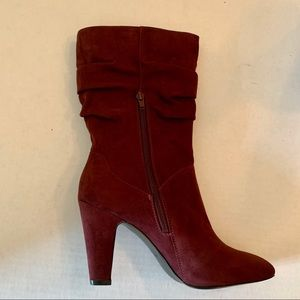 NWOT Nine West faux burgundy suede boots.